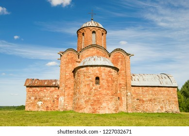 Old Church of the Transfiguration of Our Savior on Kovalyovo close-up on a sunny June day. Outskirts of Veliky Novgorod, Russia