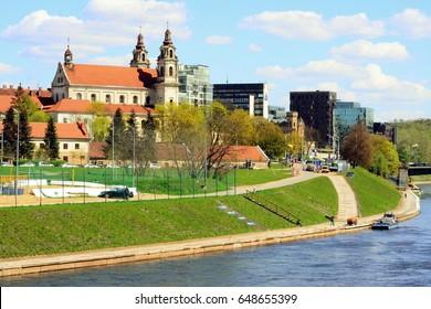 Old church in Vilnius town on spring