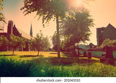 Old church yard with sunshine