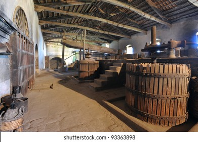 old cider in a mill for wine in sicily, italy, europe