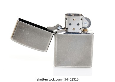 Old Cigarette Lighter On Isolated White Background