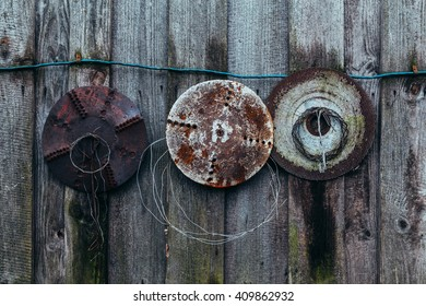 old circular saws on the wall