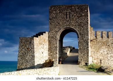 Old citadel gate guarding the entrance of Kaliakra in Bulgary