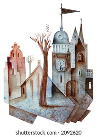 Old city in the autumn. Illustration by Eugene Ivanov.