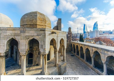 Old City in Baku on the background Flame Towers