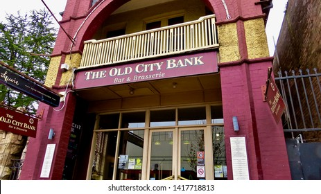 The Old City Bank sign and building, 15 Katoomba St, Katoomba, New South Wales, Australia on 5 June 2019.