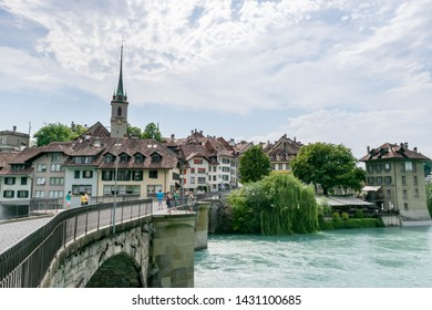 Old city Bern amd Bridge through river Aare, Switzerland