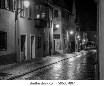Old city of Bludenz in black and white on a rainy Night, Bludenz, Vorarlberg, Austria, Europe