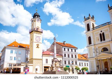Old city center in Banska Bystrica city during the sunny weather in Slovakia