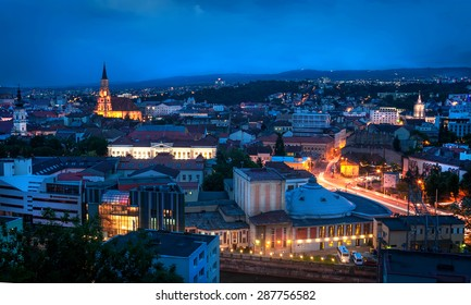 Old city of Cluj-Napoca night scene
