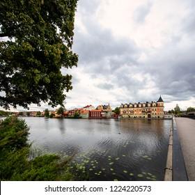Old city of Eskilstuna, Sweden seen from the walk over bridge.