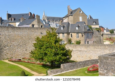 Old city and garden in the fortifications at Vannes, a commune in the Morbihan department in Brittany in north-western France