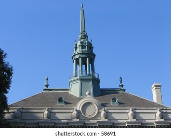 Old City Hall, Berkeley, California -- Detail of roofline and cupola