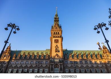 Old City Hall on Rathausmarkt in Hamburg. Hamburg, Germany.