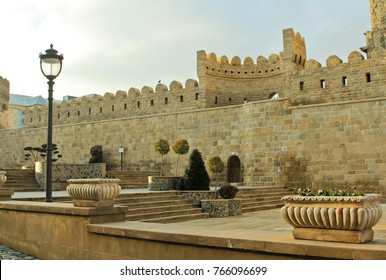 Old City or Inner City of Baku, Azerbaijan. The historical part of the city Baku. Ancient stone fortress.