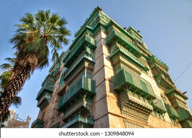 Old city in Jeddah, Saudi Arabia known as Historical Jeddah. Ancient building in UNESCO world heritage historical village Al Balad.Saudi Arabia