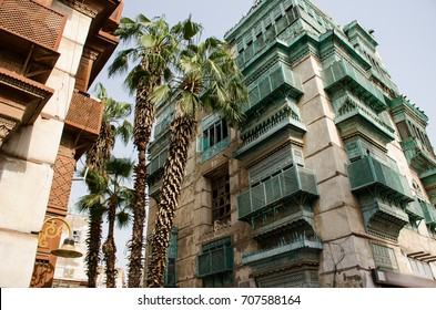 "Old city in Jeddah, Saudi Arabia known as ""Historical Jeddah"". Old and heritage buildings and roads in Jeddah."