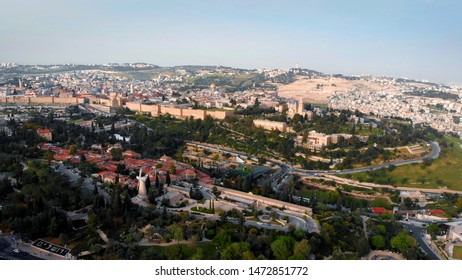 The old City of Jerusalem Aerial View Beautiful Aerial Shot of Center and East Jerusalem with the old city walls and the golden Dome of the rock