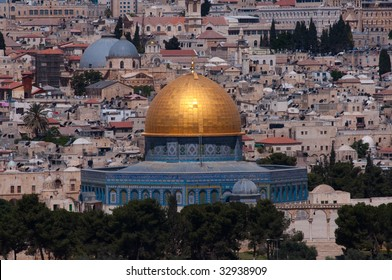 The Old City of Jerusalem, including the Dome of the Rock, as seen from the Mount of Olives.