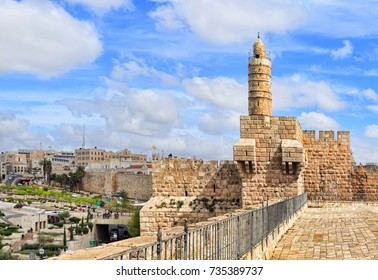 Old City of Jerusalem with new town in the background. David's tower (citadel). Israel