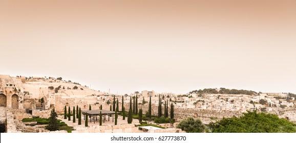 Old city Jerusalem. Retro vintage picture