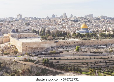 The Old City of Jerusalem view from the Mount of Olives