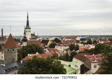 Old city landscape of Tallinn from Toompea hill Estonia