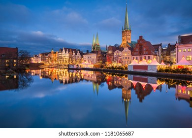 Old city of Lubeck, Germany with Christmas decorations