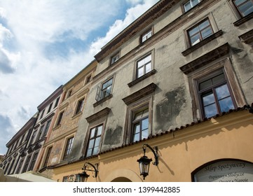 Old city. Lublin. Poland. 26. August. 2015. The most ancient and beautiful part of Lublin. Narrow streets, yellow lanterns, old colorful houses with interesting ornaments