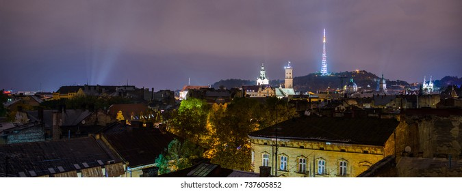 Old city Lviv. Panoramic night view