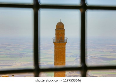 Old city of Mardin, historical mosque minaret, Mesopotamia
