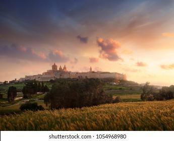 Old city Mdina at the evening. Malta