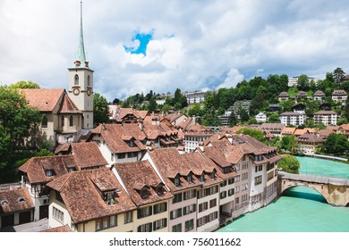 The Old City is the medieval city center of Bern, Switzerland. Built on a narrow hill surrounded on three sides by the river Aare.