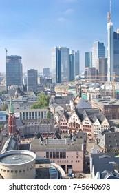 Old city and modern city of Frankfurt