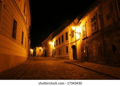 Old city at night (Bratislava, Slovakia)