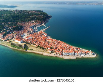 Old city Piran in Slovenia, aerial view at sunrise.