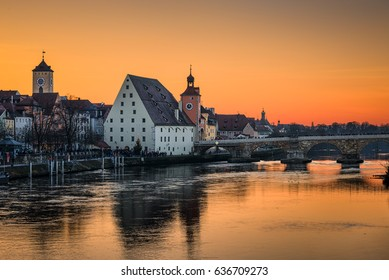 The old city of Regensburg, Germany at sunset