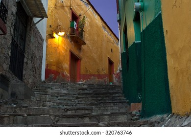 Old city steps at night in Guanajuato Mexico