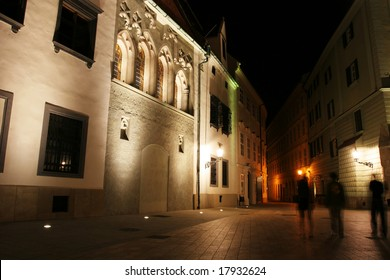 Old city street at night (Bratislava, Slovakia)