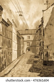 old city street painting