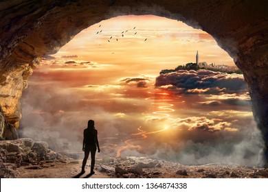 old city sunset cave man girl manipulation nature background smoke foggy stone mountain tourism travel photoshop