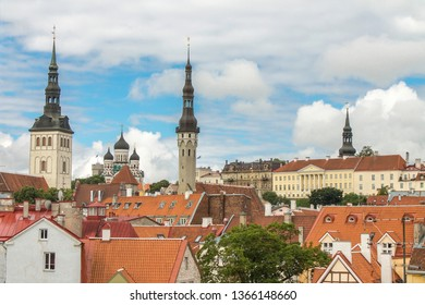 The old city of Tallinn seen from the city's defensive walls. From the left we can see the towers od Church of St. Nicholas, Alexander Nevsky Cathedral, Tallinn Town Hall and St. Mary's Cathedral.