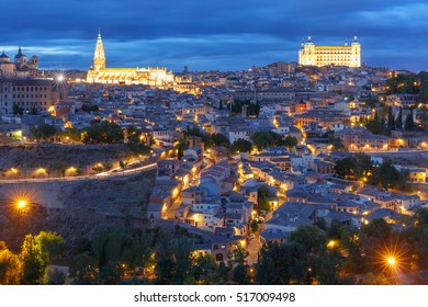 Old city of Toledo with Cathedral and Alcazar at night, Castilla La Mancha, Spain