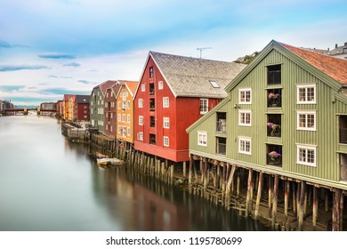 The old city of Trondheim with their colorful houses and the Nidelva River, Norway.