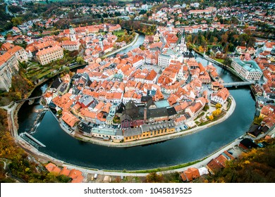 Old city view from above. Top view. Czech krumlov. Traveling through Europe. The city in Czech Republic, sights. The world around us, beautiful next door. What to see in the Czech