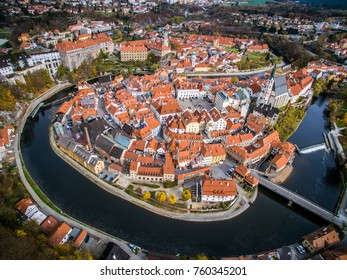 Old city view from above. Top view. Czech krumlov. Traveling through Europe. The city in Czech Republic, sights. The world around us, beautiful next door. What to see in the Czech Republic