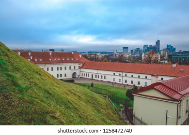 Old city of Vilnius, the remaining part of the Upper Vilna Castle, near Gediminas' Tower, Lietuva (Lithuania). New Center on a background. October 23, 2018