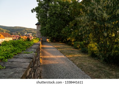 Old city wall with half-shells of the tower, Wernigerode, Harz