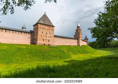 The old city wall with towers. Novgorod, Russia