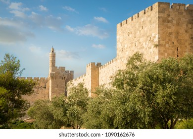 The old city walls with the Tower of David.